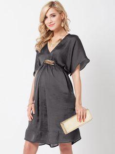 90bfe68057453 Angel Maternity Maternity Evening Dress in Brushed Satin - Dark Grey