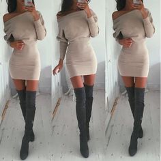 Sexy Bodycon Khaki Stripe Knitted Long Sleeve Dress