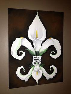 Calla Lilly fleur de lis painting.