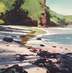 This is an original acrylic painting 6 x 6 on canvas panel and painted around the narrow sides.  Koki Beach near Hana Maui  $225