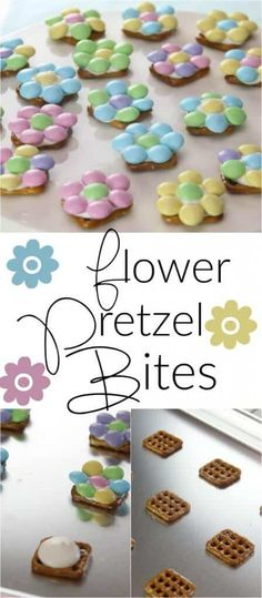 These Spring Flower Pretzel Bites are the perfect way to welcome Spring into your home. They are also the perfect easy Easter dessert to make with your kids!
