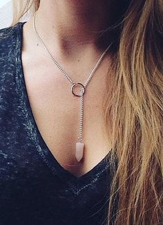 Cute Lariat Choker Necklace Pink Opal Gemstone for Teen Girls for Women -  lindo collar de gargantilla lariat para mujeres para niñas adolescentes chicas - www.MyBodiArt.com