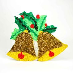 Melted Popcorn Plastic Holly Jingle Bells Wall Hangings // 1970's Vintage Christmas Decor