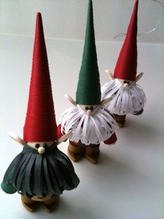 Nisse Christmas Ornaments, Swedish Scandinavian Tomte, Paper Quilled