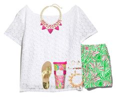 """""""Living life in Lilly"""" by livnewell ❤ liked on Polyvore featuring Lilly Pulitzer, Kate Spade, Kendra Scott and Jack Rogers"""
