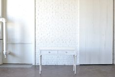 White Vanity Desk: Pretty little white vanity desk painted white.  Perfect wedding cake display table or photo shoot prop. *Paisley & Jade Vintage & Specialty Furniture Rentals for Events, Weddings, Theatrical Productions & Photo Shoots*
