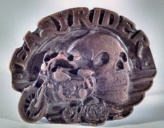 Vintage Easy Rider Belt Buckle Motorcycle and Skull Biker Style. Great Shape  #Unbranded