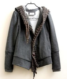 Hoodie jacket, sweatshirt fleece hoodie with crochet trim KT481 SMALL. $215.00, via Etsy.