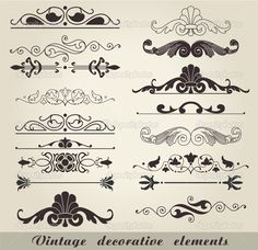 The vector image of vintage decorative elements. Eps Vector, Vector Art, Vectors, Decorative Lines, Art Icon, Free Illustrations, Line Art, Picture Frames, Projects To Try