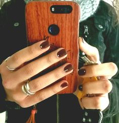 Matte burgundy dark red nails, nail art, decorated nails Oxblood shellac, rhinestones nails