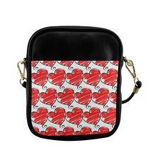 Red Hearts Cute Pattern Sling Bag (Model 1627)