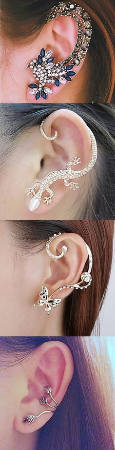 Stylish and creative ear cuffs (dragon, flower, snake, bird - whatever you like). I think ear cuffs are so interesting and attractive! Cute Jewelry, Body Jewelry, Jewelry Box, Jewelry Accessories, Jewelry Design, Jewelry Making, Stylish Jewelry, Jewlery, Skull Jewelry