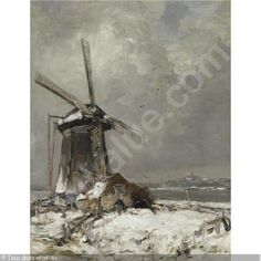 APOL Louis (Lodewyk Franciscus Hendrik) - A WINDMILL IN A SNOW COVERED LANDSCAPE