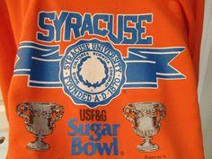 Original Vtg Large 1988 Syracuse University Orange Sugar Bowl NCAA Sweat Shirt L…
