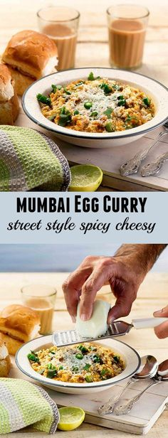 Mumbai style Egg curry is spicy egg curry cooked with lots of spicy chilly and topped with grated cheese and serve like a street style food along with buttered pav buns. Easy Egg Recipes, Veg Recipes, Curry Recipes, Indian Food Recipes, Vegetarian Recipes, Cooking Recipes, Simple Recipes, Appetizer Recipes, Recipies