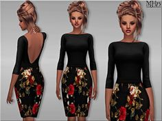 -a lovely classy outfit that consists of backless length sleeve top with floral pencil skirt. Fashionable and demure at the same time. Found in TSR Category 'Sims 4 Female Everyday' The Sims, Sims Cc, Maxis, Sims 4 Dresses, Formal Dresses, Floral Pencil Skirt, Sims 4 Clothing, Sims 4 Update, Gilmore Girls