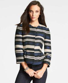 Midnight Stripe Peplum Jacket