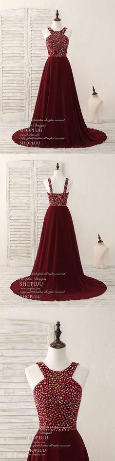 Burgundy round neck chiffon beads long prom dress, Burgundy evening dress