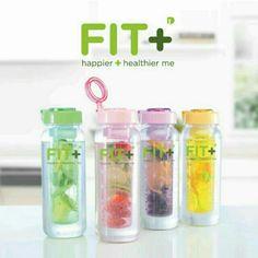 Fit+ Happier and Healthier me!  Fit+ infused bottle family set berisi 4 botol dengan 4 warna berbeda. Dilengkapi infuser, digunakan untuk membuat infused water dengan buah-buah kesukaan Anda. Warna yang tersedia adalah Ungu,Pink,Kuning,Hijau. Daya tampungnya 650ml. Cocok untuk digunakan sehari-hari, lengkap untuk sekeluarga.  Bahan PC7 Unbreakable Food Grade  WA 081805031818 TO ORDER