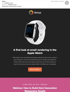 There's a way to send a hidden version of your email campaign that only the Apple Watch will display. This gives you a lot more flexibility in your design. In this post, we'll cover how to introduce a third part into your HTML email: text/watch-html, as well as tips on how to make it look great. #applewatch #emailmarketing #emaildesign