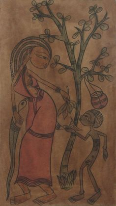 The Universal Bond of Mother and Child (Bengal Folk Painting on Paper - Unframed)) Bengali Art, Mother And Child Painting, Indian Folk Art, Indian Paintings, Vintage Travel Posters, Mothers Love, Anthropology, Old And New, Contemporary Art