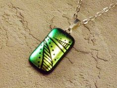 Yellow Green Dichroic Etched Glass Pendant by GoldenGlow on Etsy