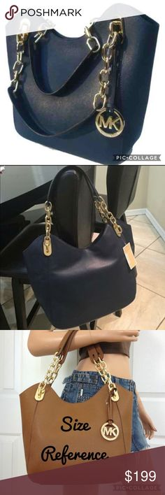 💜NEW Michael Kors Leather Lilly Tote Bag Purse Brand new with tags, 100% Leather, good hardware. Beautiful navy blue! Also wallet available for sale. Great Valentines gift! Michael Kors Bags Totes