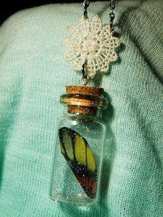Butterfly wing in Glass bottle Pendant