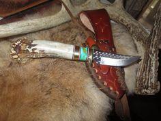 """Hunting Knife Ken Richardson MADE N USA Crown Horn Malachite/Gold  3""""  Clip   #KENRICHARDSON #FixedBlade"""