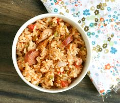 Jambalaya #recipe very good and spicy. I only used polish sausage and instant rice. Use equal amounts of rice and broth
