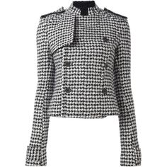 Haider Ackermann pied de poule pattern jacket ($2,562) ❤ liked on Polyvore featuring outerwear, jackets, black, print jacket, pattern jacket and haider ackermann