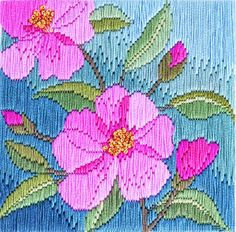Camelias - long-stitch kit by Rose Swalwell Needlepoint Stitches, Embroidery Stitches, Embroidery Patterns, Hand Embroidery, Needlework, Modern Cross Stitch Patterns, Cross Stitch Designs, Bargello Patterns, Stitch Pictures