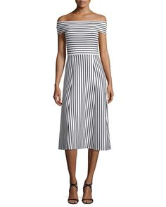 TC12Z Derek Lam 10 Crosby Striped Off-the-Shoulder Midi Dress, Soft White