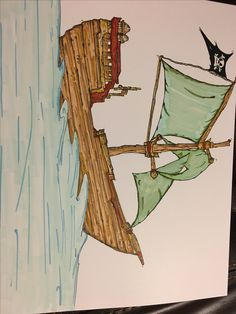 Wooden pirate ship drawing