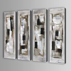 Pintada a mano Abstracto / Fantasía Cuatro Paneles Lienzos Pintura al óleo pintada a colgar For Decoración hogareña 2017 - $5109.87