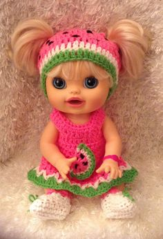 Clothes For 16 Inch Dolls . Watermelon by LoveWhatIDoCrochet4U