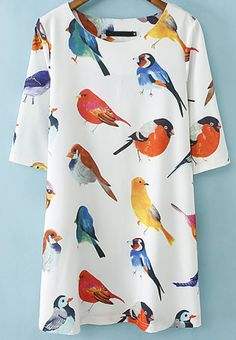 White Half Sleeve Birds Print Loose Dress 35% Off for New Sign Up