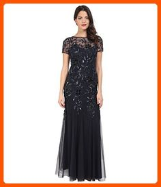 Adrianna Papell Women's Floral Beaded Godet Gown, Twilight, 2 - All about women (*Amazon Partner-Link)