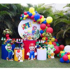 Super Mario Birthday, Mario Birthday Party, Super Mario Party, Birthday Themes For Boys, Birthday Party Decorations, Thomas Birthday, Boy Birthday, Mario Y Luigi, Mario And Princess Peach