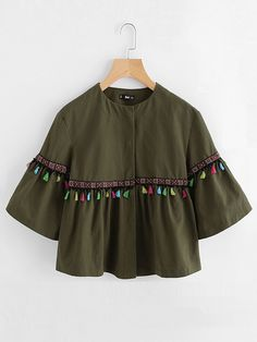 Shop Bell Sleeve Tassel And Embroidered Tape Detail Jacket online. SheIn offers Bell Sleeve Tassel And Embroidered Tape Detail Jacket & more to fit your fashionable needs. Girls Fashion Clothes, Teen Fashion Outfits, Look Fashion, Girl Fashion, Girl Outfits, Indian Fashion, Stylish Dresses For Girls, Stylish Dress Designs, Dresses Kids Girl