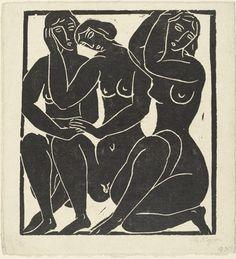 "Three Nudes (Drei Akte) Moissey Kogan (Russian, 1879–1945?) (c. 1926-29). Linoleum cut, composition (irreg.): 10 5/8 x 9 1/4"" (27 x 23.5 cm); sheet: 12 1/8 x 11 1/8"" (30.8 x 28.2 cm). Publisher and printer: unknown. Edition: 25. Gift of J.B. Neumann. M. Kogan-Archive/EKS"