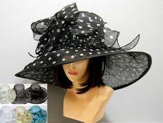 Swirl Bow Light Summer Fashion Kentucky Derby Hat Church Fancy Elegant Wide Brim