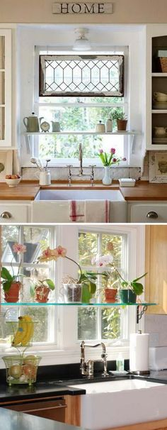 Mounting a few shelves inside your kitchen window will let you get extra surface space for storage. Black Farmhouse Sink, Modern Farmhouse Kitchens, Cool Kitchens, Rustic Farmhouse, Country Kitchens, White Kitchens, French Farmhouse, Rustic Table, Farmhouse Ideas