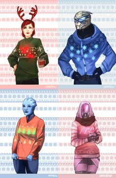 Canadian artist Elizabeth, AKA Weissidian, produced these two prime examples of Mass Effect Christmas fanart. Love the Garrus and Tali Christmas sweaters. Mass Effect Funny, Mass Effect 1, Mass Effect Universe, Bioware Games, Commander Shepard, Ugly Sweater Party, Nerd Love, Geek Chic, Dragon Age
