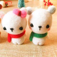 Handmade Needle felted Polar Bear felting kit project Christmas cute for beginners starters