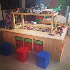 Steve built the kids the most amazing Lego table. #legofun.