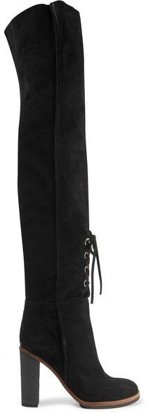 Proenza Schouler's over-the-knee boots are timeless and beautifully made. This velvety black suede pair is finished with lace-up eyelet detailing along the front - a feature seen on a number of outfits on the Fall '16 runway. We like them underneath midi skirts or dresses.