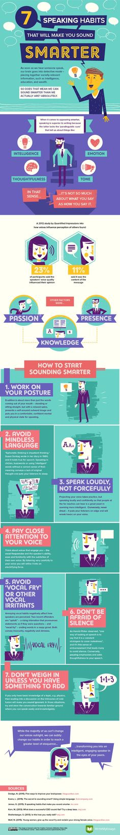 7 Speaking Habits That Will Make You Sound Smarter Infographic - http://elearninginfographics.com/7-speaking-habits-that-will-make-you-sound-smarter-infographic/