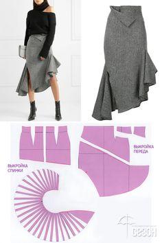 Роскошная юбка с цельнокроенным валаном // Elena Kostina