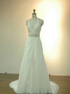 Directsale Halter Chiffon With Beading Sash Backless Wedding Dress Trumpet/Mermaid Wedding Dress Free Measurement
